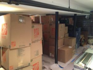 boxes packed to the ceiling