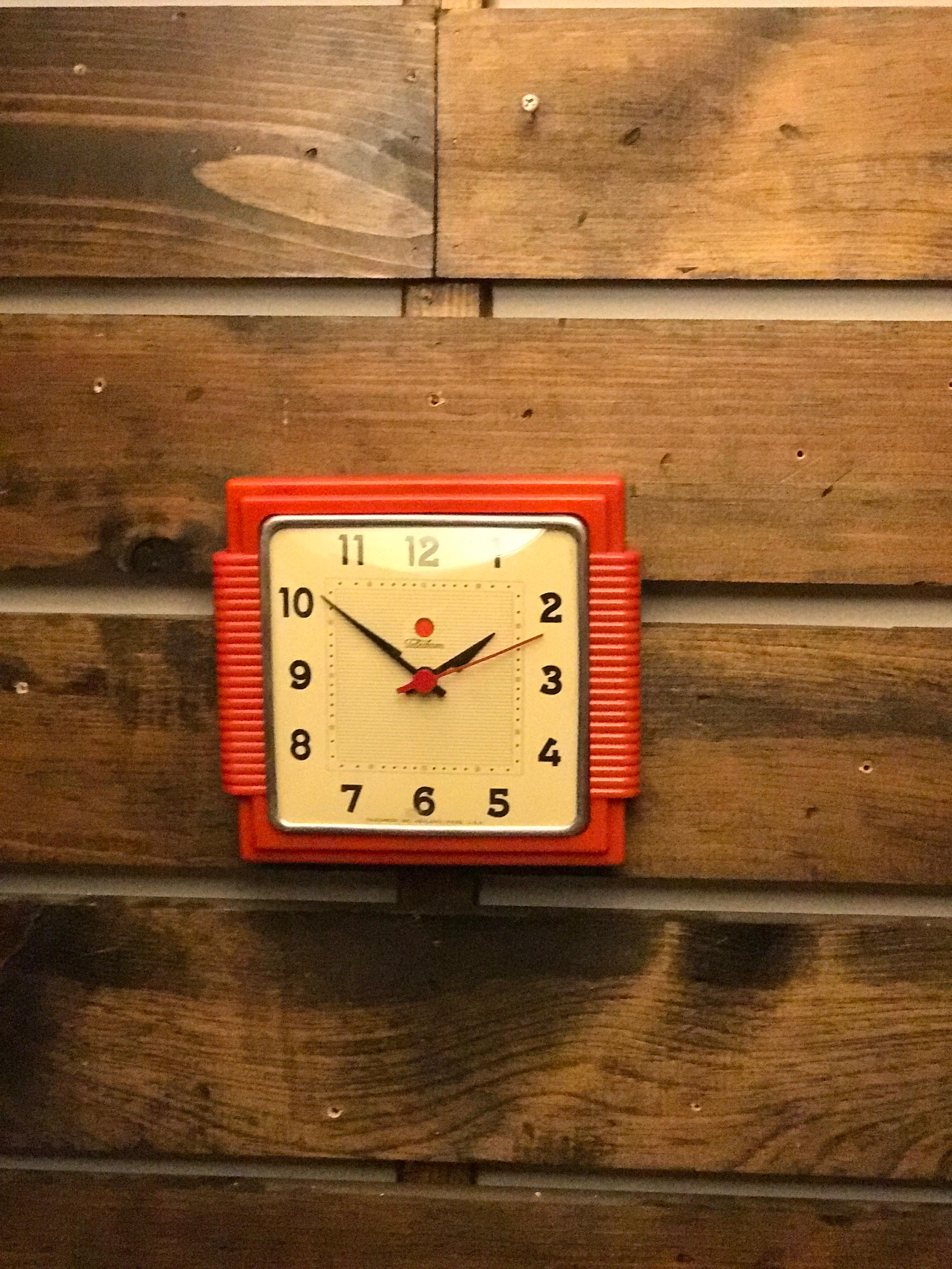 Telechron Red Bakelite Wall Clock Circa 1930 S